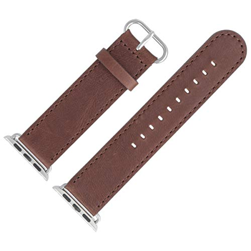MARBURGER Uhrenarmband Für Apple Watch 38mm Leder Mit Naht Glatt Matt Braun Series 1 2 3 4