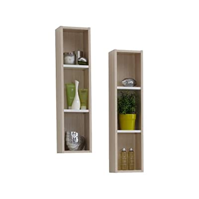 FMD Shelf Lerida 1, 19.5 x 82 x 17 cm, Ash Tree/ White