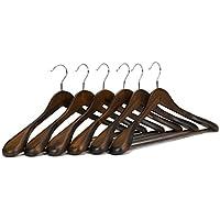 J.S. Perchas para trajes de madera auténtica de árbol Guger, con hombros extra anchos, perfectas para abrigos y pantalones, retro finish (6 unidades)