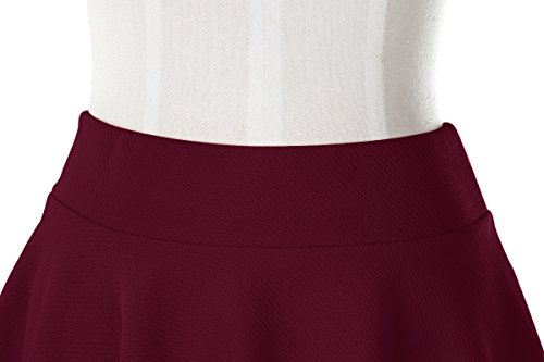 Urban GoCo Donna Moda Svasata Mini Gonna da Pattinatrice Versatile Elastica Solida Colore Gonna Vino rosso-lungo