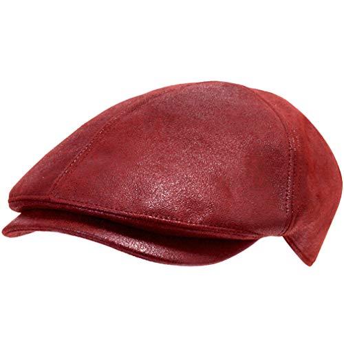 ililily Schirmmütze: Flat Cap gehalten im klassischer Stil, Cabbie (Chauffeurmütze), Gatsby/Ivy Cap, irische Golfermütze, Schiebermütze aus streckbarem Stoff (One Size, Red) (Red Newsboy Cap)