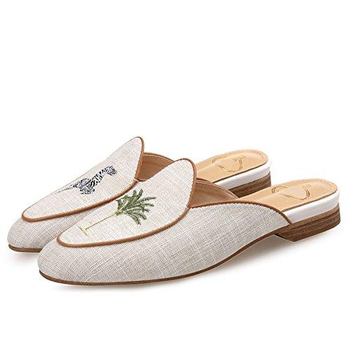 HBDLH-Damenschuhe/Zebra Palmen Bestickt Baotou Semi - Pantoffeln Weiblich Flachen Boden Freizeit Nicht Faul Müller - Schuhe Forty Linen Zebra Wedge Flip Flop