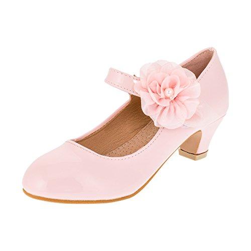 Cherine Festliche Mädchen Lackoptik Ballerina Pumps mit Echt Leder Innensohle M374rs Rosa 30