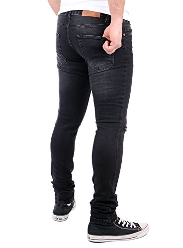 Reslad Jeans-Herren Knie Zerrissen Slim Fit Denim Destroyed Jeans-Hose RS-2067 Schwarz