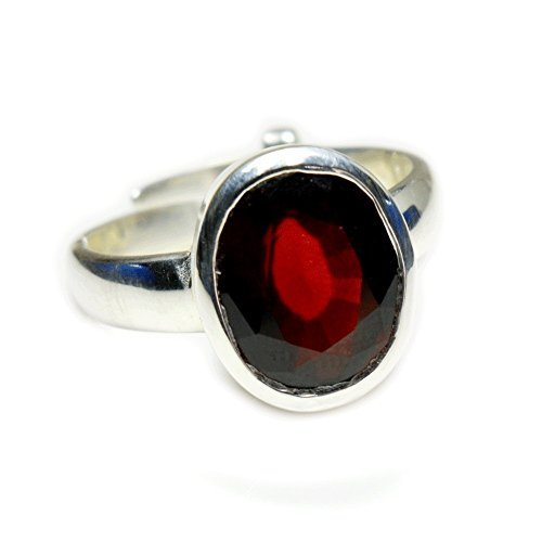 YogiGems Natural 7 Carat Hessonite Gomedh Ring In 925 Sterling Silver