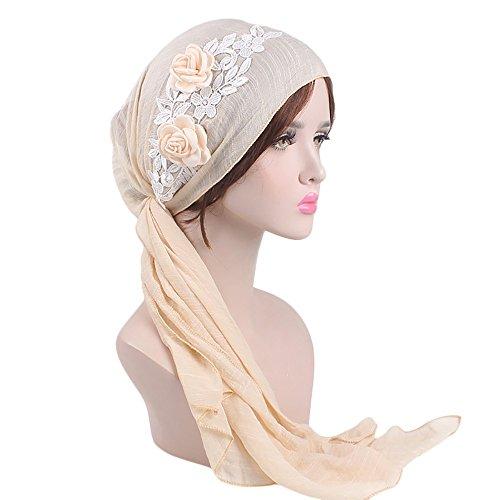 Lonshell_Beanie Damen Herren Muslim Damen Geblümt Turban Hijab Retro Baumwolle Kopftuch Cap Islamischen Abaya Dubai Frauen Stirnband Mütze Bandana Kopfbedeckung Strecken Wrap Kappe (Beige)