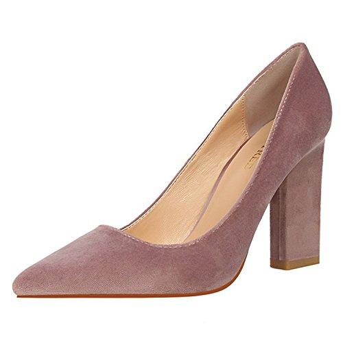 FLYRCX Stile Europeo bocca superficiale ruvida scamosciato tacco alto scarpe tacco scarpa lavoro scarpe partito scelta di vari colori C