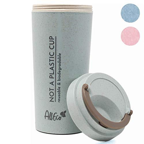 AllEco Kaffeebecher-to-Go - biologisch abbaubar, Thermobecher plastikfrei aus Weizenstroh 450ml blau Travel Mug Coffee-to-go, doppelwandig isoliert   nachhaltig, wiederverwendbar, umweltfreundlich