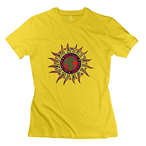Kst Frau Alice in Chains Logo T-Shirt Baumwolle Funny Gr. Large, Gelb (T-shirt Gelben Text)