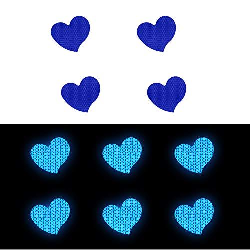 10x Nastro Adesivo Riflettente Notte Riflessivo Sicurezza Nastro di Avviso Per Camion Auto Moto Biciclette Barca Trailer Casco Borse A forma di cuore a forma di amore D-26 Blu