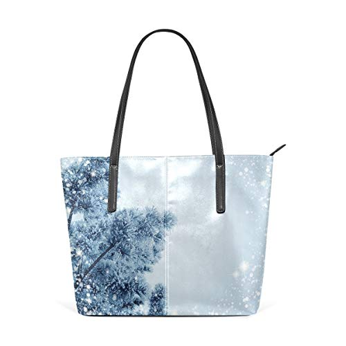 jhin Womens Purse Bling Snowflake With Tree PU Leather Shoulder Tote Bag Umhängetasche Backpack Ladies Travel Shopping Bags -