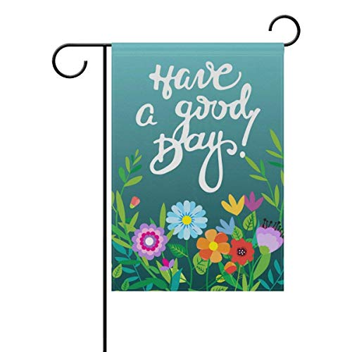 momnn Hello Welcome Spring Summer Good Day Floral Flowers Garden Yard Flag Banner for Outside House Flower Pot Double Side Print 12x18 inches