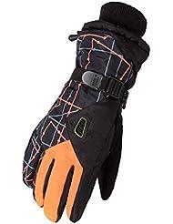 Invierno más cálido invierno de los hombres al aire libre impermeable Guante de esquí 's ciclo de los guantes Guantes de la capa de los hombres ( Color : Naranja )