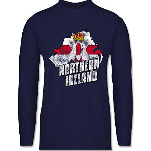 Shirtracer Länder - Northern Ireland Umriss Vintage - Herren Langarmshirt  Navy Blau