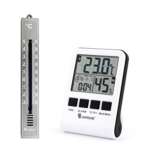 Lantelme 4359 Set Digital Maximum - Minimum - Thermometer und Hygrometer und Analogthermometer in grau