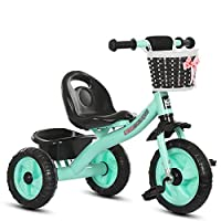 MC-F Kids Tricycle, with Removable Parents Push Handle Bar, Children 3 Wheel Pedal Bike, with Rubber Tyres, for 1-6 Years Kids and Toddlers - 80-120 CM,Green