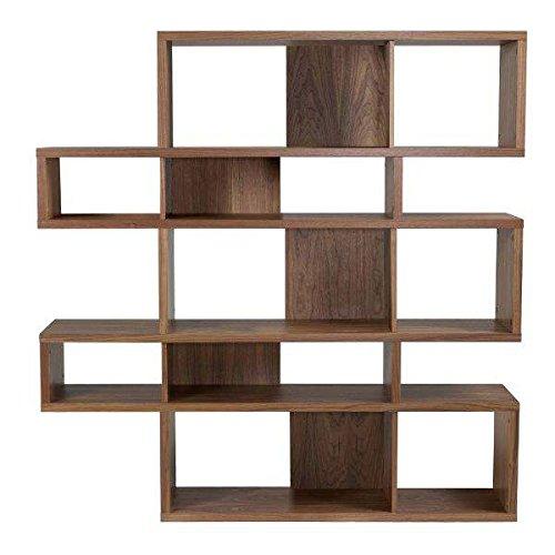 étagères contemporaines en bois, LONDON est réversible, trois dimensions, plusieurs options de finition - Design Temahome - déco et design - 160 x 155 x 34 cm (HxLxD) - noyer / fonds noyer