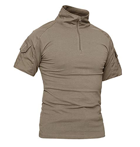 KEFITEVD Military Shirt Männer Army Oberteil Combat Hemd Baumwolle Sommer Shirt Wandern Fitness Kurzarm T-Shirt Elastisch Slim Fit Khaki L (Etikett: 2XL) -