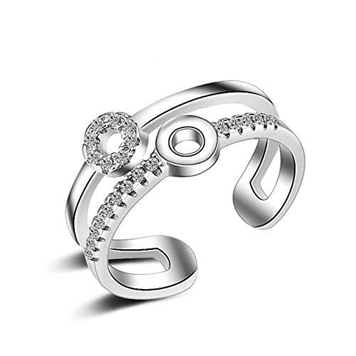 Esberry 14K Vergoldet Ring AAA+ Kubikzircon Geometrische Kreisförmige Doppelschicht Ring Mode süße Beliebt Kreative Persönlichkeit Literarischen Offenen Ring für Mädchen und Frauen (14K-White Gold)