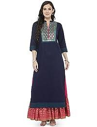 Varanga Blue Embroidered Kurta with Pink Printed Skirt KFF-VAR118148_PZ21029