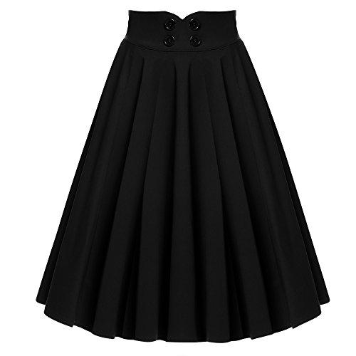 ACEVOG Damen Rock ELegant Faltenrock Causal Kleid Business Vintage 1950er Jahr Knielang