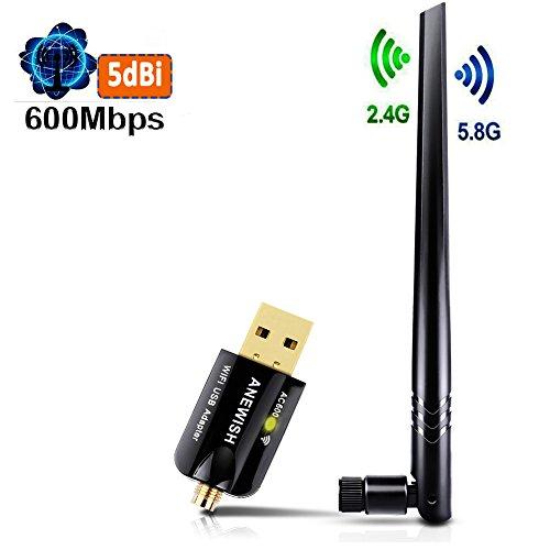ANEWISH® Adattatore Wifi USB Chiavetta Wi-Fi con Antenna 5dBi scheda di rete Wi-Fi 600 Mbps Dual Band 5.8Ghz/2.4GHz, Dongle Wi-Fi, Mini Ricevitore Wi-Fi per Pc Windows10/8/7/Vista/XP/2000, Mac OS X