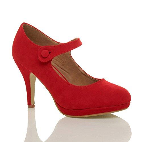 Femmes talon haut Mary Jane soir travail escarpins babies chaussures pointure Daim rouge