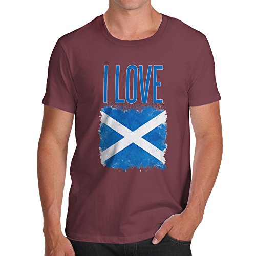 Herren I Love Scotland T-Shirt Burgund