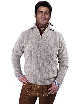 Trachtenpullover - Troyer Pullover für Herren - Beige - Wolle/Schurwolle