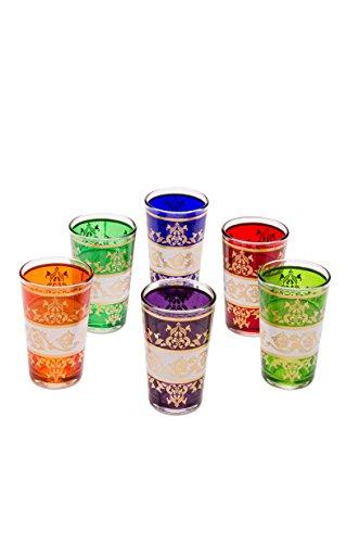Copas de té decoradas orientales Set 6 copas Laman multicolor claro - Cristales de té marroquí 6 colores decoración oriental - 6 x vasos de té de Marruecos Oriental decorado - diferentes modelos