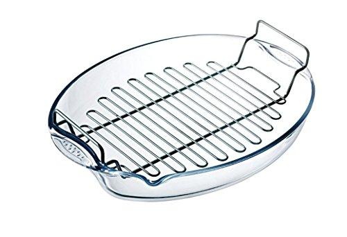 Pyrex Classic Bräter Oval groß mit Gitterrost zum fettarmen Kochen , hitzebeständig bis 220 Grad (42 x 30 x 8 cm mit Grillrost) (Pyrex Kochen)