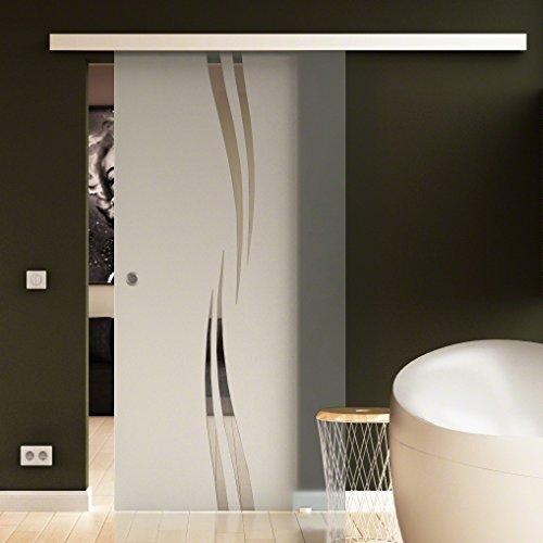 LEVIDOR® Schiebetür komplett mit Laufschiene & Muschelgriffen & Glas Wellen-Design - (A) - LEVIDOR BASIC Beschlag, 1025 x 2050 mm Glasschiebetür alles Made in Germany