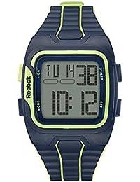 Reebok reloj rfws1g9plpl-mb Workout–SZ1gris, verde dígitos Dial. sintética, Batik azul, cítricos Glow correa.