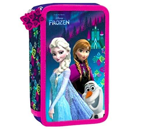 Frozen Eiskönigin 44 x Teile 3-Fächer Federtasche Federmappe Mäppchen GEFÜLLT inklusive Sticker von kids4shop
