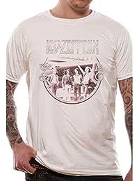 Officiellement Licencié Hommes Led Zeppelin Starship Bob Gruen Shot White T-Shirt