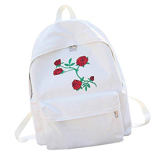 Bluestercool Sacs à Dos Loisir, Femmes Filles Roses à Broderie Sac à Dos pour École et Voyage (Blanc)