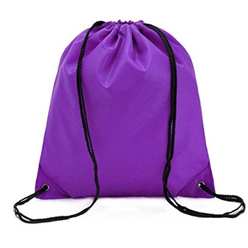 Wicemoon Sac à dos étanche Cordon de serrage à dos Oxford Chiffon de voyage pliable Sport de stockage Cordon de serrage Sac à dos Sac Sac 34*39cm violet