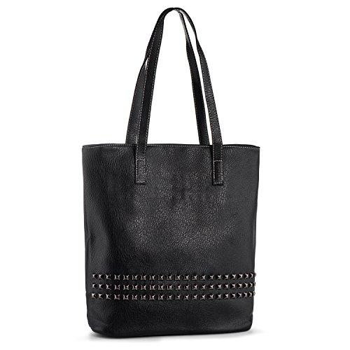 Leder-nieten-handtasche (Damen Handtasche Gross Nieten Schultertasche Damentasche PU Leder Shopper Tasche Reise Arbeit Uni Groß Leicht (Schwarz))