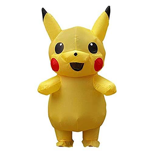 Disfraz de Cosplay de Pikachu Inflable para niños Adultos Disfraz Halloween Pikachu Amarillo Nuevo Disfraz Fiesta Disfraces para niños Adultos con soplador de Aire (Niño 120-140cm, Adulto 160-190cm)