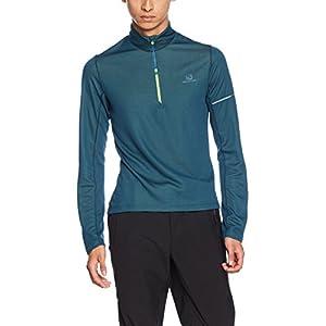 Salomon Herren Langarm-Sportshirt, Agile HZ Mid, Synthetik-Mischgewebe, schwarz/blau (black/Surf The Web)