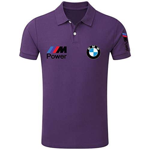 New Men's BMW Power Logo M Sport High Quality Polo Neck T Shirts UK Size S-XXL (X-Large) Purple