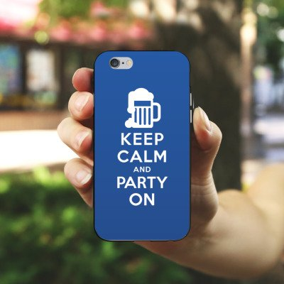 Apple iPhone X Silikon Hülle Case Schutzhülle Keep Calm Party Bier Silikon Case schwarz / weiß