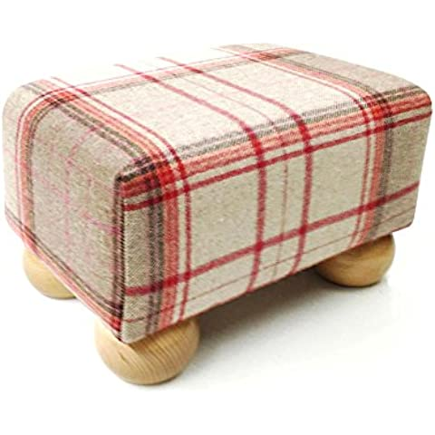 Piccolo sgabello di tartan scozzese rosso di lusso con piedini in legno colore naturale