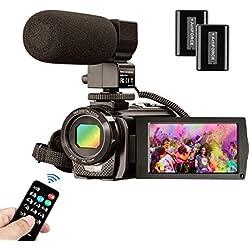 Videocámara MELCAM Cámara de Video HD 1080P 30FPS 24MP Pantalla LCD de 3 Pulgadas Giratoria 270° Digital Zoom 16X Vlogging Cámara Digital con Control Remoto y Micrófono