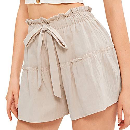 YIlanglang Women Shorts, Women Solid Color Splice Hohe elastische Taillenbinde Slim Fit Wide Leg Shorts, Female Sales Lässige Pure Color Short Pants Hosen Beachwear Leggings Joggers -