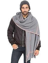 Grande écharpe 'Soho' tissée à la main en laine mérinos, gris