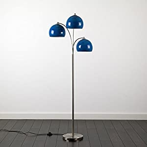 Modern Designer Style 3 Way Brushed Chrome Floor Lamp - Complete with Mini Arco Style Dome Shades from MiniSun
