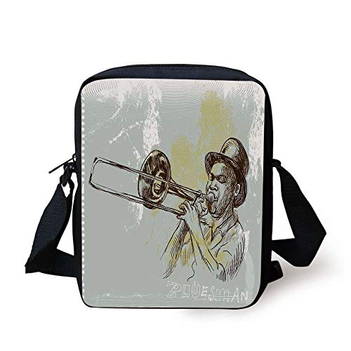 CBBBB Jazz Music,Trumpet Player Illustration Rock and Roll Party Classic Artful Design,Gray Yellow Black Print Kids Crossbody Messenger Bag Purse Black Trumpet Rock