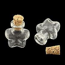 NBEADS 100Pcs Botella de cristal transparente con forma de estrella Mini Wish Bottles con tapones de