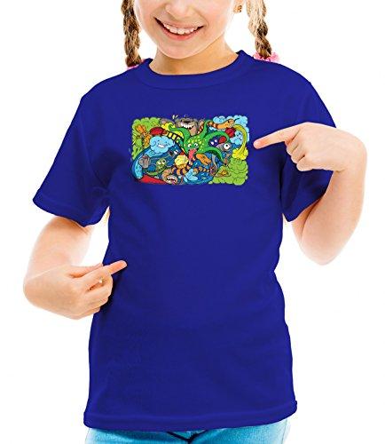 Three Monkeys Crazy Sea-Life Heroes Animals Collection Girls Classic Crew Neck T-Shirt Dark Blue Small